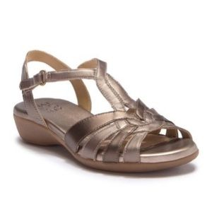 NATURALIZER Strappy Bronze Leather Sandals